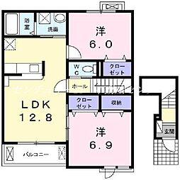 JR赤穂線 香登駅 徒歩26分の賃貸アパート 2階2LDKの間取り