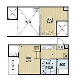 愛知県名古屋市中川区丹後町2丁目の賃貸アパートの間取り