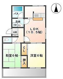 福岡県久留米市小森野3丁目の賃貸アパートの間取り