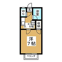 ガーデンイン桜ヶ丘B[2階]の間取り