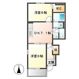 岡山県倉敷市北畝6の賃貸アパートの間取り