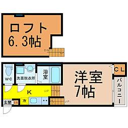 愛知県名古屋市北区東長田町2丁目の賃貸アパートの間取り