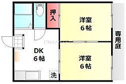 岡山県岡山市北区新屋敷町3丁目の賃貸アパートの間取り
