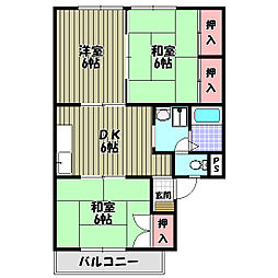 大阪府大阪狭山市東池尻5丁目の賃貸アパートの間取り