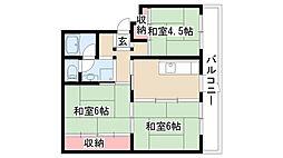 愛知県名古屋市緑区鳴海町字三高根の賃貸マンションの間取り