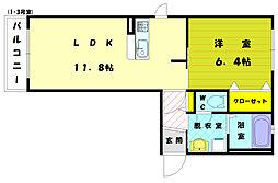 福岡県古賀市花見東2丁目の賃貸アパートの間取り