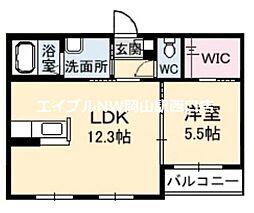 シャーメゾンセシリエール B棟 1階1LDKの間取り