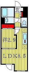アトラスカーロ赤羽 3階1LDKの間取り