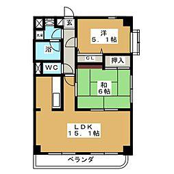 グレンパレスOkino[5階]の間取り