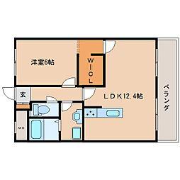 近鉄生駒線 竜田川駅 徒歩1分の賃貸マンション 3階1LDKの間取り