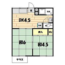 菱興三ツ境コーポ[101号室]の間取り