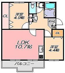 兵庫県神戸市北区泉台7丁目の賃貸マンションの間取り