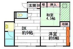 ハイツ石田[3階]の間取り