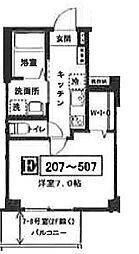 JR京葉線 越中島駅 徒歩12分の賃貸マンション 3階1Kの間取り
