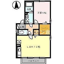 岡山県倉敷市松江1の賃貸アパートの間取り