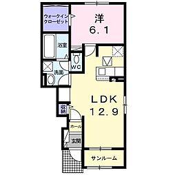 ル・ベリエ 1階1LDKの間取り