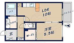 シャトーヒルズ 南館 1階1LDKの間取り