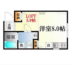 神奈川県横須賀市船越町6丁目の賃貸アパートの間取り