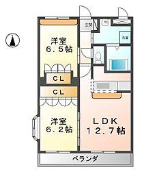 愛知県北名古屋市九之坪西城屋敷の賃貸マンションの間取り
