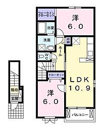 岡山県赤磐市桜が丘東2丁目の賃貸アパートの間取り