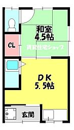 コーポ有楽4[2階]の間取り