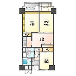 ビレッジハウス金沢タワー[10階]の間取り