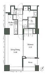 JR山手線 目黒駅 徒歩5分の賃貸マンション 7階1LDKの間取り