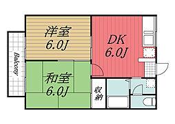 千葉県千葉市若葉区源町の賃貸アパートの間取り