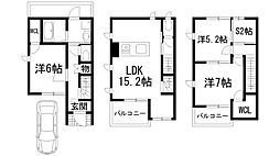 [テラスハウス] 兵庫県川西市栄根2丁目 の賃貸【/】の間取り