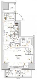 東京メトロ有楽町線 新富町駅 徒歩12分の賃貸マンション 12階1Kの間取り