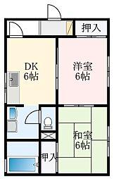 メゾン・ヒロ 1階2DKの間取り