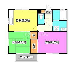 パルメゾンB棟[2階]の間取り