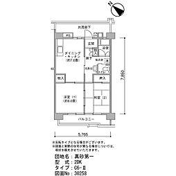 真砂第一団地5-16[7階]の間取り