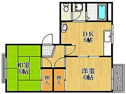 兵庫県宝塚市旭町2丁目の賃貸アパートの間取り