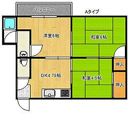 千寿第一コーポ[3階]の間取り