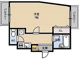 大阪府大阪市福島区海老江5の賃貸マンションの間取り
