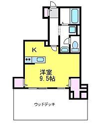 JR中央線 東小金井駅 徒歩3分の賃貸アパート 1階ワンルームの間取り