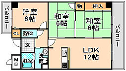 兵庫県伊丹市千僧2丁目の賃貸マンションの間取り