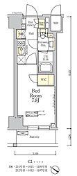 東京メトロ南北線 麻布十番駅 徒歩7分の賃貸マンション 7階1Kの間取り