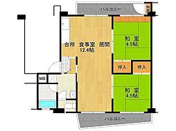 UR逆瀬川住宅[19-402号室]の間取り