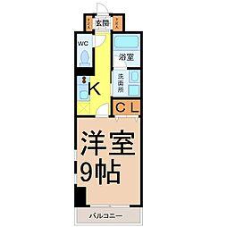 レジディア東桜 2階1Kの間取り