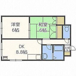 北海道札幌市白石区本通17丁目北の賃貸マンションの間取り