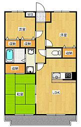 サンツヤマモトB[3階]の間取り