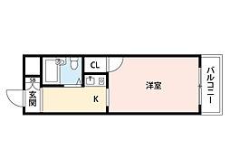 阪急千里線 南千里駅 徒歩9分の賃貸マンション 1階ワンルームの間取り