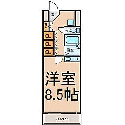 名古屋市営東山線 東山公園駅 徒歩1分の賃貸マンション 3階1Kの間取り