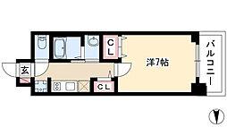 エステムコート名古屋栄プレシャス 4階1Kの間取り
