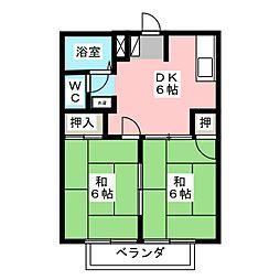 リバーサイド小川 A・B棟[2階]の間取り