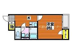 JR津山線 法界院駅 徒歩11分の賃貸アパート 1階1Kの間取り