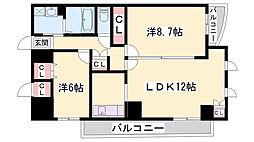 シエル青山 3階2LDKの間取り