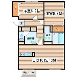 北海道札幌市東区伏古二条4丁目の賃貸マンションの間取り